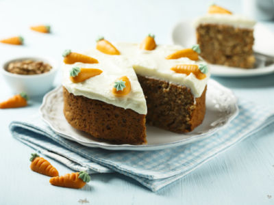 Homemade carrot and walnut cake with cream cheese